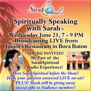 Join SarahSpiritual at Junior's